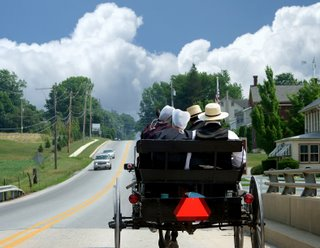 Amish Buggy and Car in Lancaster County
